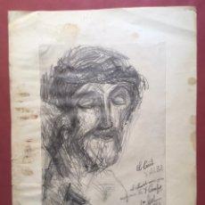 Arte: DIBUJO DE TEMÁTICA RELIGIOSA TITULADO EL CRISTO DE JOSEP MARÍA GOL I CREUS (BCN 1897-1980). Lote 267813974