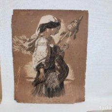 Arte: FIRMADO MARIA LUISA BORRAS. TECNICA MIXTA SOBRE CARTULINA FECHADO DEL AÑO 1863. HILADERA. Lote 268585774