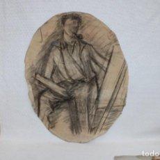Arte: ANONIMO. DIBUJO A CARBON DE FINALES DEL SIGLO XIX. PERSONAJE. Lote 268586129