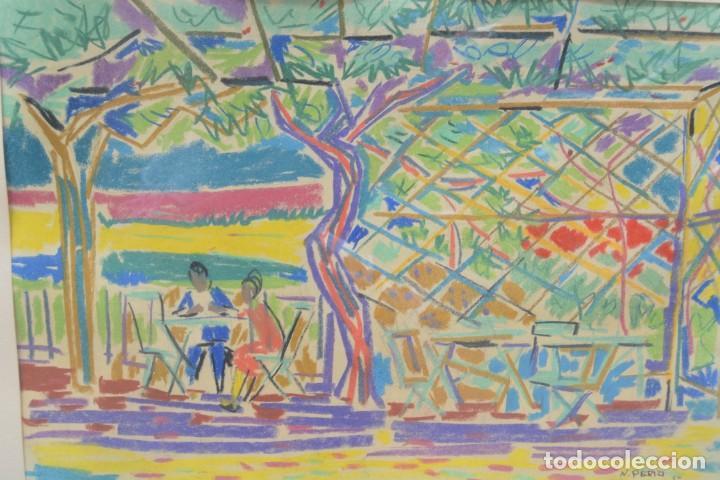 PERSONAS, TERRAZA Y ÁRBOLES, 1950, DIBUJO A LAS CERAS, FIRMADO N. PERIZI, CON MARCO. 48X33CM (Arte - Dibujos - Contemporáneos siglo XX)