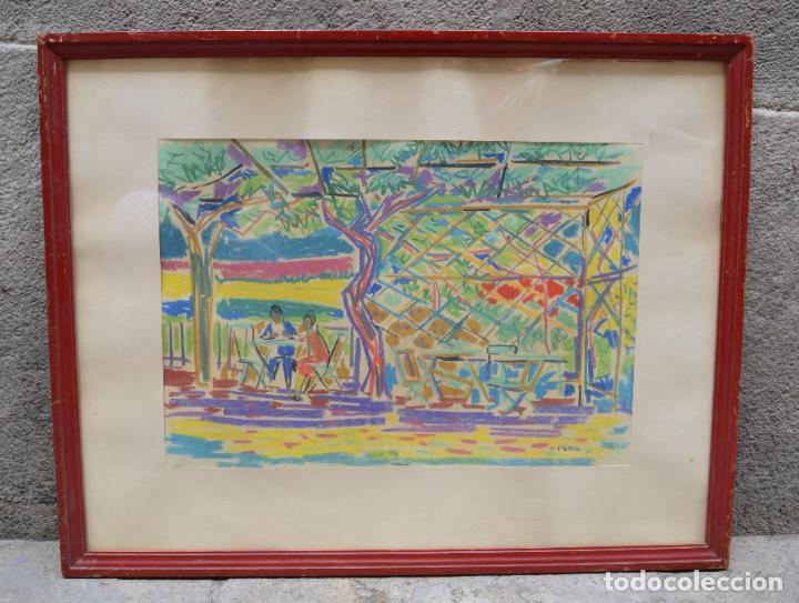 Arte: Personas, terraza y árboles, 1950, dibujo a las ceras, firmado N. Perizi, con marco. 48x33cm - Foto 2 - 268600489