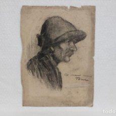Art: JOSEP PORTA GALOBART (BERGA, 1888 - BARCELONA, 1958) DIBUJO CARBON. RETRATO MASCULINO. Lote 268604649