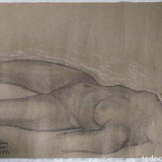 Arte: JOAN CARDELLÁ I CRUSELLS (VALENCIA 1900-BARCELONA 1985) DIBUJO CARBONCILLO DESNUDO FEMENINO. Lote 268610889