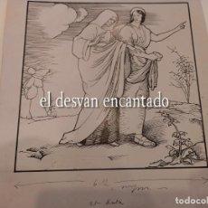 Arte: DIBUJO A TINTA ESCENA ANTIGUO TESTAMENTO. PARA PUBLICACIÓN SEIX BARRAL. 22 X 25 CTMS. Lote 268726769