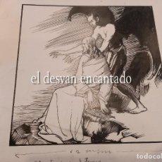 Arte: DIBUJO A TINTA ESCENA ANTIGUO TESTAMENTO. PARA PUBLICACIÓN SEIX BARRAL. 22 X 25 CTMS. Lote 268726929