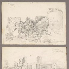 Arte: CASTELL DE GELIDA. PAREJA DIBUJOS ORIGINALES FRANCESC ALMUNI. Lote 269040693