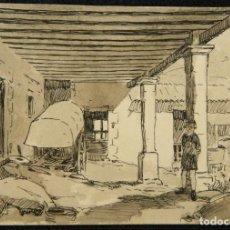 Arte: DIBUJO ORIGINAL A LÁPIZ, TINTA Y AGUADA DE FRANCESC ALMUNI. Lote 269041813