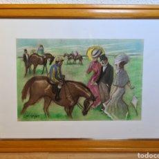 Arte: CUADRO PINTURA DIBUJO ALFRED OPISSO BURGUESÍA HIPÓDROMO CARRERAS - JOCKEY HÍPICA CABALLO. Lote 269097578