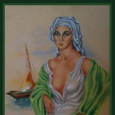 Arte: MARIO VICENTE. ARTISTA ARGENTINO S. XX. FIGURA FEMENINA FRENTE AL MAR. 1943. T. MIXTA 39 CM X 33 CM. Lote 269502233
