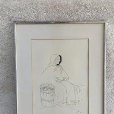 Arte: DIBUJO A TINTA ENMARCADO DEDICATORIA FIRMA MIR TOUS MALLORCA MUJER SENTADA 52X42CMS. Lote 269703253