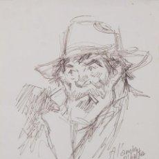 Arte: DIBUJO RETRATO ANCIANO DEDICADO AL PINTOR RIBALTA FIRMADO ROCA 1984. Lote 270152748