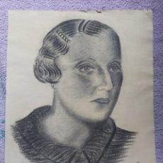 Arte: RETRATO DE MUJER EN CARBONCILLO. 1938.. Lote 270173708