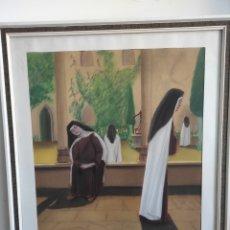 Arte: MONJAS EN EL CONVENTO. DIBUJO A PASTEL. FIRMADO VALIENTE. 66X56CM (ENMARCADO). Lote 270221693