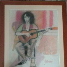 Arte: JORDI CURÓS OLOT 1930- 2017. MUJER TOCANDO GUITARRA. PASTEL SOBRE PAPEL.. Lote 270535943