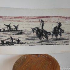 Arte: ESPECTACULAR QUIJOTE Y SANCHO CON LOS MOLINOS. TINTA Y ACUARELA. MANO MAESTRA. FIRMADO DUVAL? DOVAL?. Lote 270603038