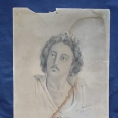 Arte: MAX RICHTER: DIBUJO A LÁPIZ Y CARBÓN, FIRMADO, 1876. Lote 270622903