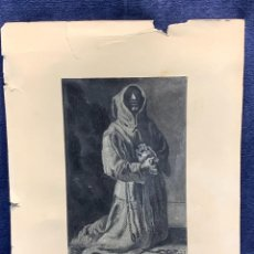 Arte: DIBUJO LAPIZ S XIX XX MONJE SAN JERONIMO PENITENTE MUERTE CALAVERA TUNICA FIRMADA J.CED 30X24. Lote 271029108