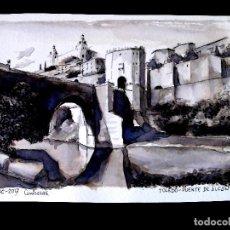 Arte: TOLEDO, PUENTE DE ALCÁNTARA. DIBUJO ORIGINAL A TINTA, SOBRE CARTULINA. FIRMADO Y FECHADO. 15 X 20 CM. Lote 271550173