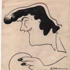 Arte: DIBUO ORIGINAL CARICATURA A TINTA FIRMADO BORRELL. 9 X 10 CM.. Lote 272034668