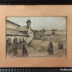 Arte: PAISAJE RURAL. DIONISIO BAIXERAS. DIBUJO AL CARBÓN SOBRE PAPEL. SIGLO XX. Lote 272550733