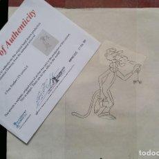 Arte: DIBUJO ORIGINAL DE LA PANTERA ROSA. CERTIFICADO DE AUTENTICIDAD. SERIE DE TELEVISIÓN.. Lote 272587213
