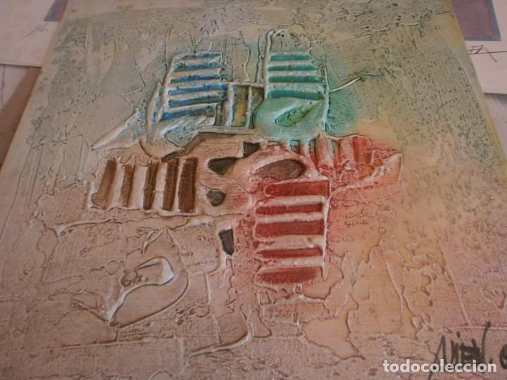 ABSTRACTO DIBUJO PASTA TABLA CONTRACHAPADO MEDIDA 40X40 CM. FIRMA DESCONOCIDA - VINTAGE (Arte - Dibujos - Contemporáneos siglo XX)