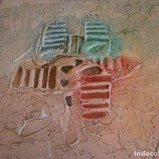 Arte: ABSTRACTO DIBUJO PASTA TABLA CONTRACHAPADO MEDIDA 40X40 CM. FIRMA DESCONOCIDA - VINTAGE. Lote 273721598