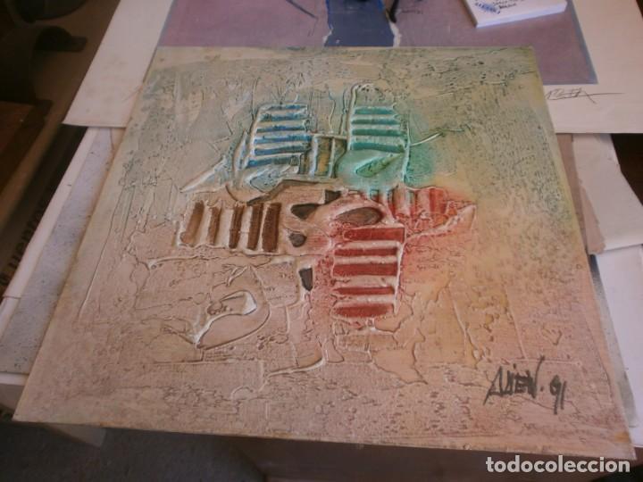 Arte: Abstracto dibujo pasta tabla contrachapado medida 40X40 cm. firma desconocida - vintage - Foto 2 - 273721598