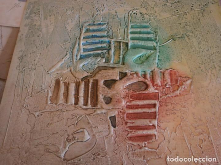 Arte: Abstracto dibujo pasta tabla contrachapado medida 40X40 cm. firma desconocida - vintage - Foto 3 - 273721598