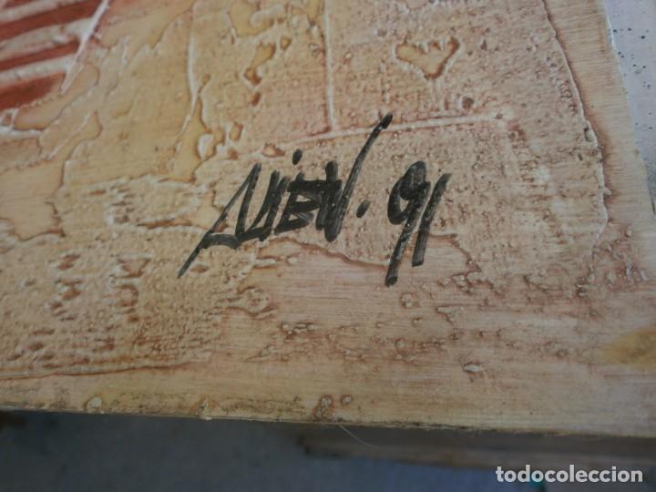 Arte: Abstracto dibujo pasta tabla contrachapado medida 40X40 cm. firma desconocida - vintage - Foto 4 - 273721598