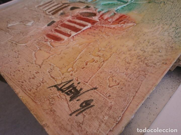 Arte: Abstracto dibujo pasta tabla contrachapado medida 40X40 cm. firma desconocida - vintage - Foto 5 - 273721598
