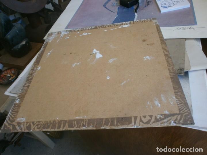 Arte: Abstracto dibujo pasta tabla contrachapado medida 40X40 cm. firma desconocida - vintage - Foto 6 - 273721598