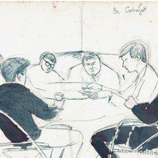 Arte: GRUPO DE AMIGOS EN FELANITX. DIBUJO 1964.. Lote 274613953