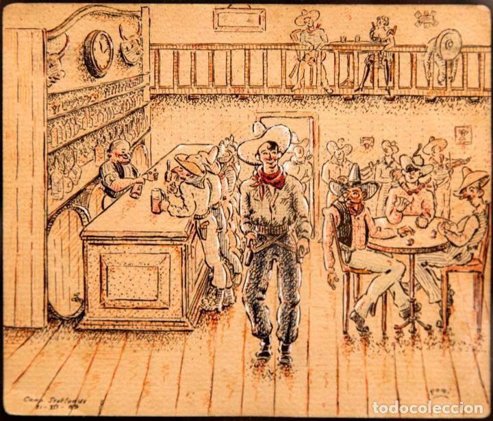 ORIGINAL CAMPO DE CONCENTRACION 1939 - CAMP SEPTFONDS - FIRMA FOMI (Arte - Dibujos - Contemporáneos siglo XX)