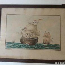 Arte: BONITA LAMINA GRABADA DIBUJADA Y COLOREADA A MANO TEMATICA NAVAL GALEONES.. Lote 275203248
