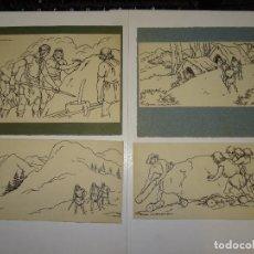 Arte: LOTE DE 4 BIBUJOS ORIGINALES DE SERRA MASSANA PARA ILUSTRAR UN LIBRO DE LA EDITORIAL MUNTAÑOLA. Lote 275481573