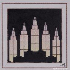 Arte: DIBUJO VISTA EDIFICIO FIRMADO FENE 1989. Lote 275533178