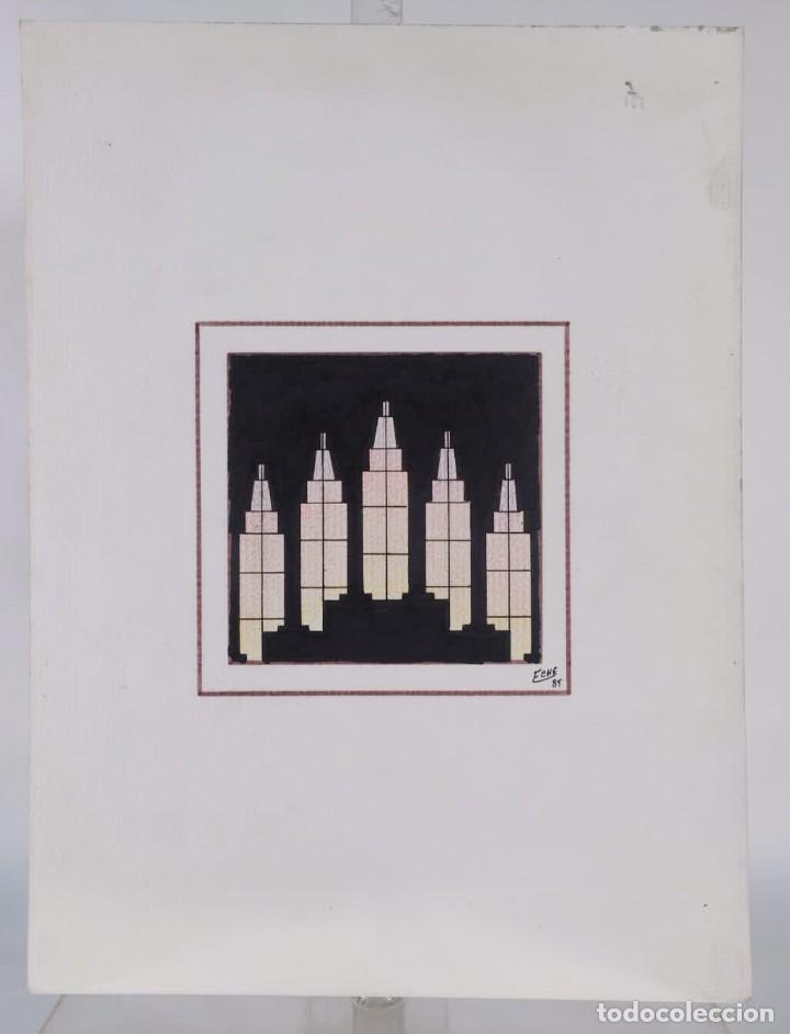 Arte: Dibujo Vista edificio Firmado Fene 1989 - Foto 2 - 275533178