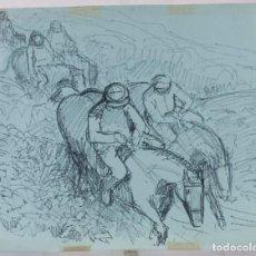 Arte: DIBUJO AL CARBONCILLO FIGURAS A CABALLO FIRMADO S.TONGOST. Lote 275536168