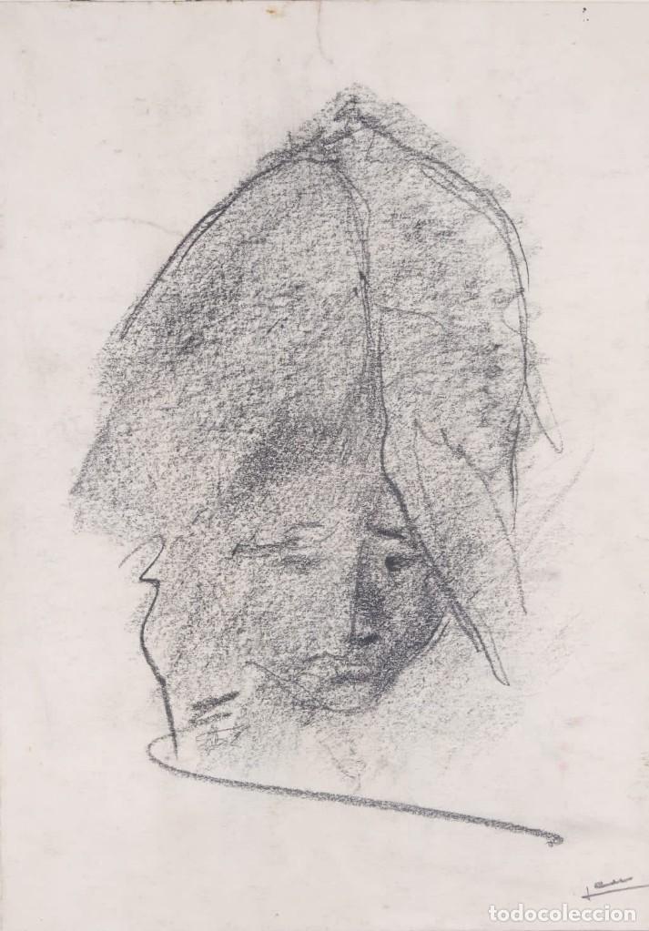 DIBUJO AL CARBONCILLO CABEZA MUJER FIRMA ILEGIBLE (Arte - Dibujos - Contemporáneos siglo XX)