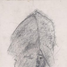 Arte: DIBUJO AL CARBONCILLO CABEZA MUJER FIRMA ILEGIBLE. Lote 275538228