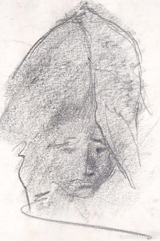 Arte: Dibujo al carboncillo Cabeza mujer firma ilegible - Foto 2 - 275538228