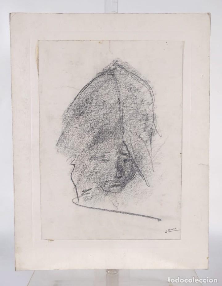 Arte: Dibujo al carboncillo Cabeza mujer firma ilegible - Foto 3 - 275538228
