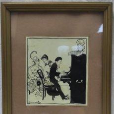 """Arte: """"VELADA DE PIANO"""" DE JOAN GARCÍA-JUNCEDA SUPERVIA (1881-1948), DIBUJO A TINTA.. Lote 275713328"""
