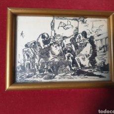 Arte: ANTIGUO CUADRO DIBUJO LOS BÁRBEROS DE LA CALLE 1940. Lote 275948043