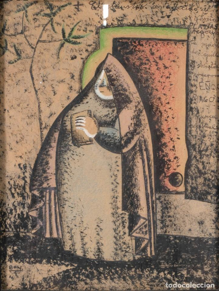 DIBUJO CERAS SOBRE PAPEL SEÑORA FIRMADO BON (Arte - Dibujos - Contemporáneos siglo XX)