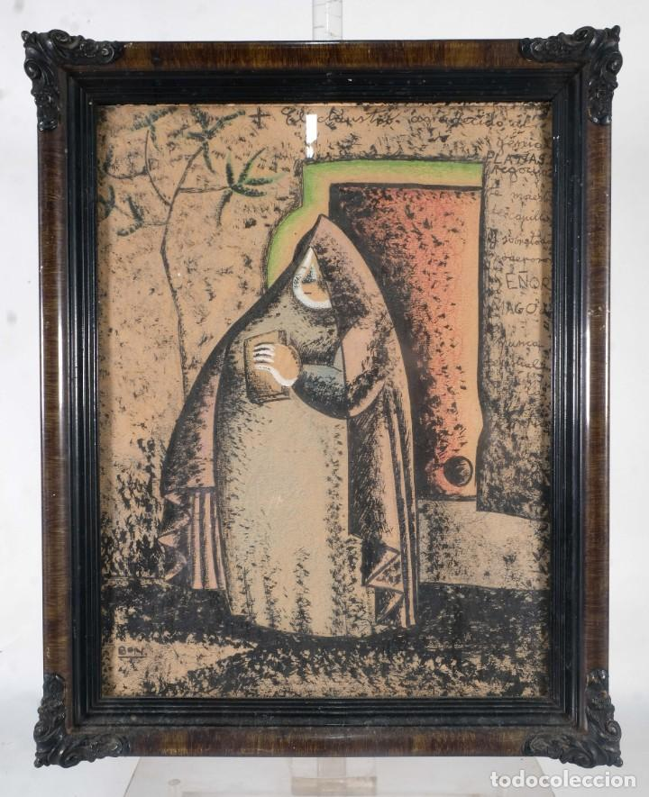 Arte: Dibujo ceras sobre papel Señora firmado Bon - Foto 2 - 276045223
