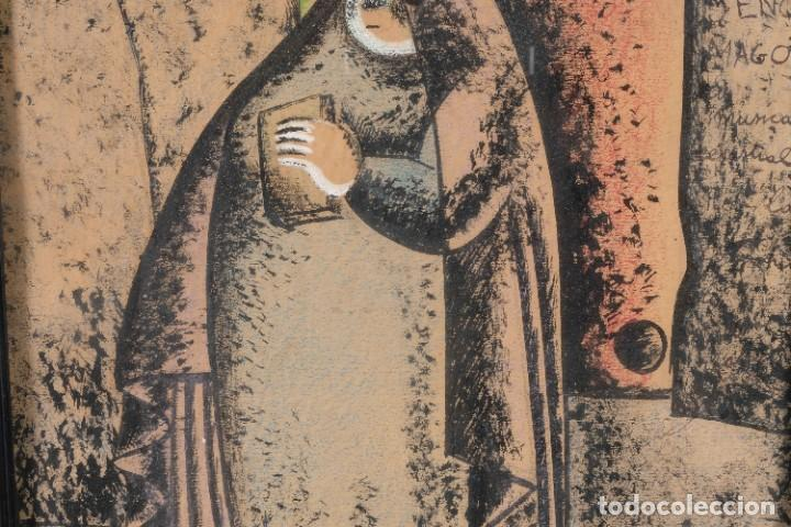 Arte: Dibujo ceras sobre papel Señora firmado Bon - Foto 4 - 276045223