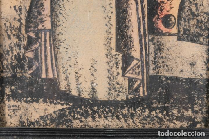 Arte: Dibujo ceras sobre papel Señora firmado Bon - Foto 5 - 276045223