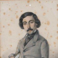Arte: DIBUJO LÁPIZ Y ACUARELA CABALLERO FIRMADO ROURA 1841. Lote 276045538
